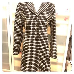 Ann Taylor Checkered Peacoat ~ Beige/Black